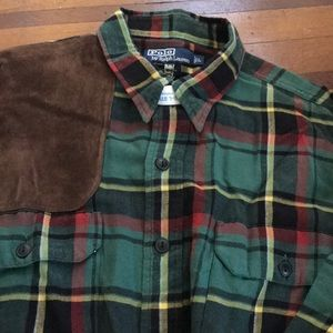 Western style flannel shirt with suede detailing